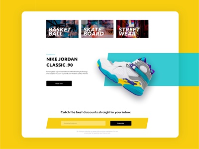BSK8 Landing Page yellow categories orders subscribe vector desktop design ux ui landing page shoes store shoes sneakers