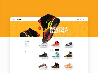 BSK8 Product Listing Page shop e-commerce shoes basketball streetwear skateboard hover state list product listing page desktop design ux ui