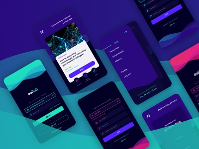 Dailab App menu board sign in log in page waves vivid colors design ux ui app mobile article knowledge daily