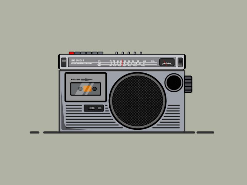 90's Tape Recorder #1 illustrator taperecorder radio 90s vector