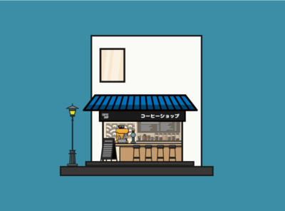 Front side coffee shop vectorartwork illustration illustratorartist vectorillustration vectorwork vectoraldesign flatdesign vectordesign illustrator vector