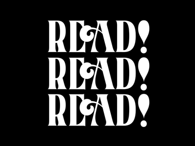 Read handlettering black and white read type vector lettering typography