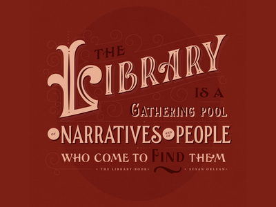 Library handlettering type quote library typography vector lettering