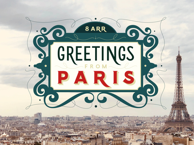 Greetings from Paris paris type greeting card handlettering typography vector lettering