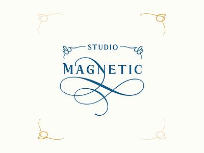 Studio Magnetic Custom Logo baroque beauty studio beauty type typography custom logo handlettering vector lettering logo design logo