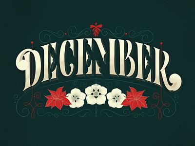 December winter illustration type typography handlettering lettering december