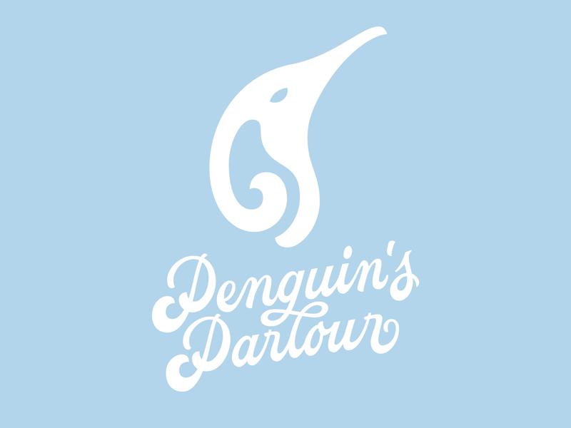 Hand lettered Logo and custom graphic gelateria gelato typography type lettering custom logo penguin logo design logo