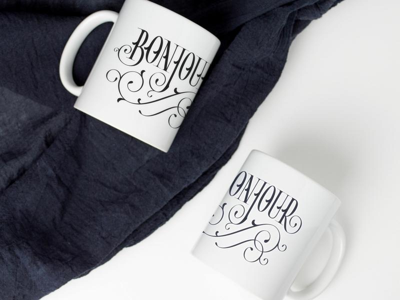 Bonjour Lettering on Mugs black and white flourish flourishes bonjour french letters handlettering typography type lettering