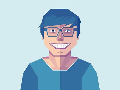 Flat Portrait flat portrait designer profile avatar character face illustration blue