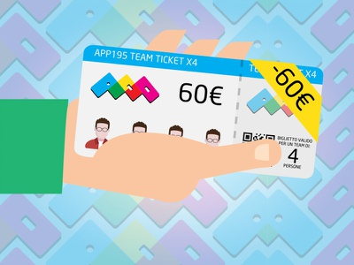 Ticket Event flat illustration ticket event hand app banner brand colorful invite vector social