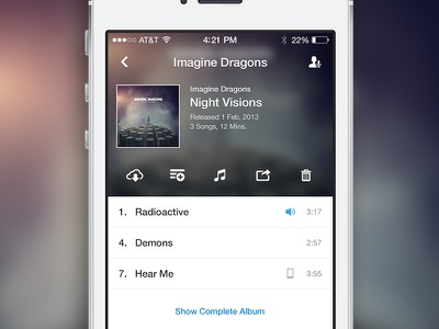 Feully. Album player song play feully music ios7 ux iphone interface ui album