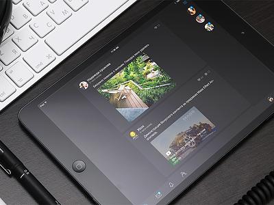Touch for iPad vk dark news app ios ipad navigation tabbar ui