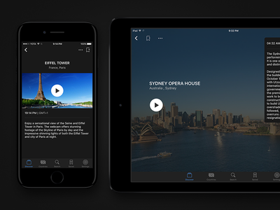 Flow – Camera Details stream camera live ux ui mobile ipad iphone dark black application app