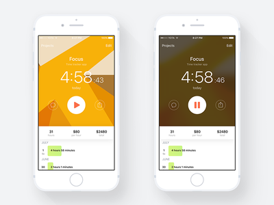 Focus – Time Tracker App ux ui app ios iphone time tracker timer time focus