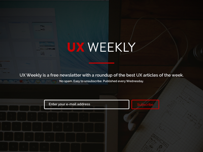 UX Weekly ux weekly website flat big image newsletter