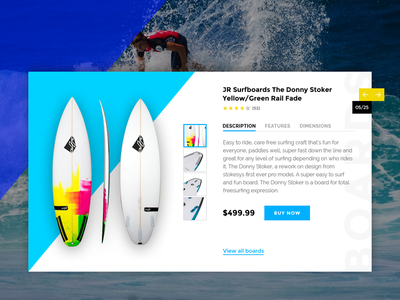Product Card UI design ui carousel slider surfboard board surfing shop surf card product