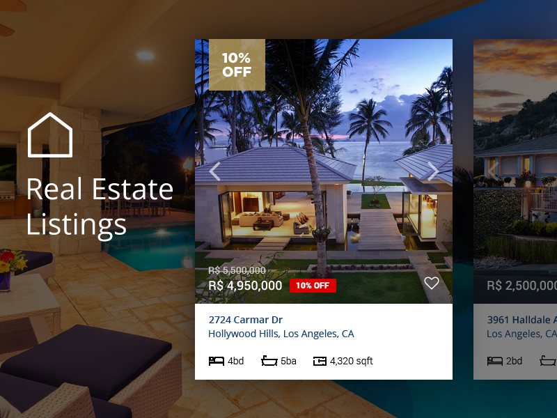 Real estate listings dribbble