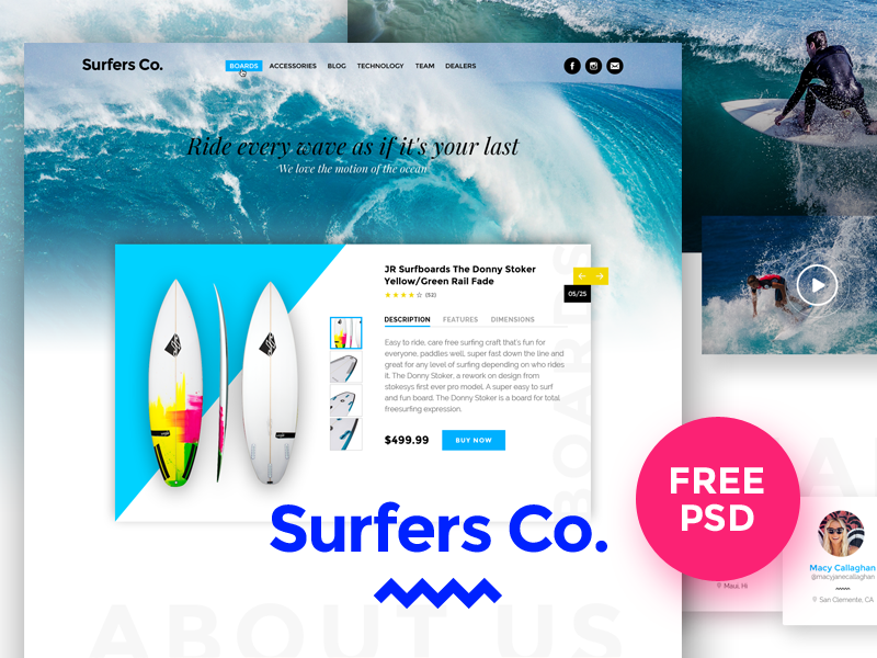 Surfers Co. FREE PSD Template fee psd freebie ui waves beach design modern download template surfshop surfboard surf