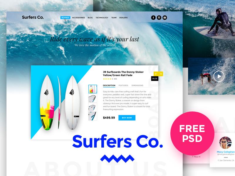 Surfers Co. FREE PSD Template fee psd freebie ui waves beach design modern download template surfshop surfboard surf