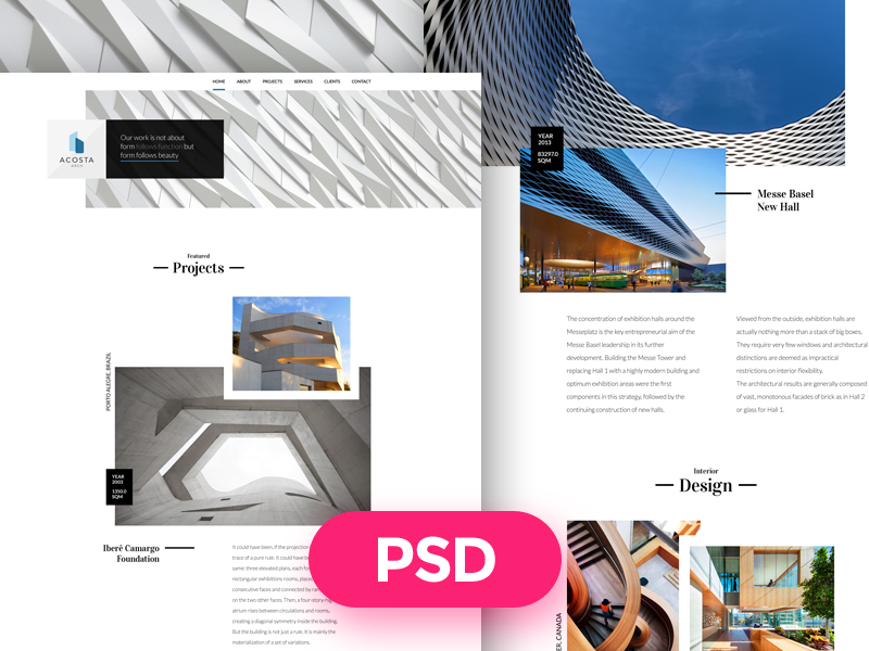 Architecture Free PSD Template fee psd interior design freebie design ui modern download template architecture urbanism architect