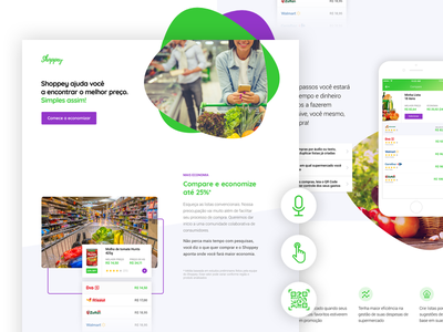 Shoppey shopping trolley ui landing page app grocery supermarket shopper