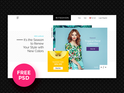 Fashion Store Free PSD Template fashion store clothing ecommerce template download modern design ui freebie fee psd landing page