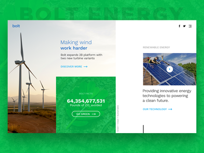Bolt Energy Landing Page - Daily UI Day 3 landing page design web ux ui daily concept sustainable renewable energy green clean