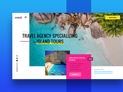 Travel Agency Exploration landing page web design ux ui trip tours island tourism travel
