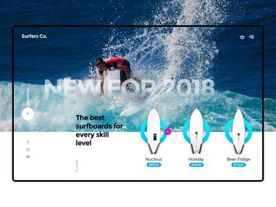 Surfers Co. Header Exploration web design ux ui waves beach header modern surfshop surfboard surfing surf