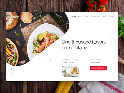 Fooodie Restaurant Website web design resto cuisine flavor ux ui homepage header restaurant food