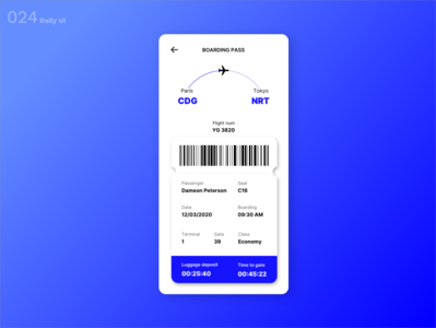 Daily UI N°24 : Boarding Pass