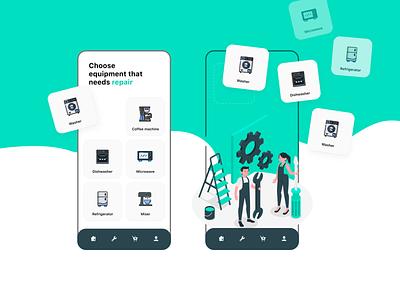 Repair application design application design repair app design concept ui web design