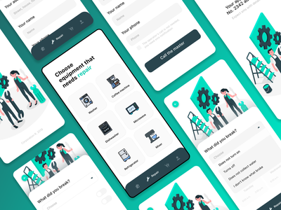 Repair application design repair typography application design app design ui web design