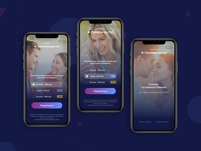 Dating site app design buy subscription subscription screens web ui animation design