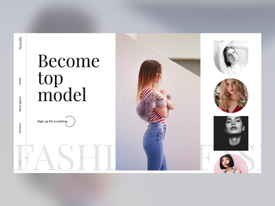 Model Agency Website minimalism 2020 trend trend branding animation ui web design