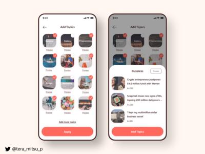 News App add topics page