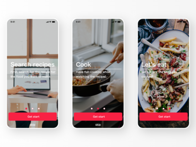 Onboarding of recipes app