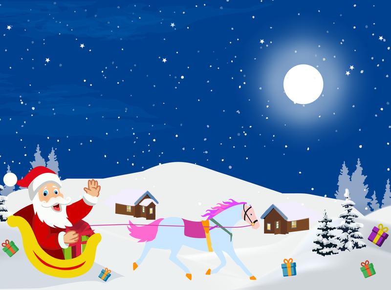 Santa Cluse Christmas illustration Landscape