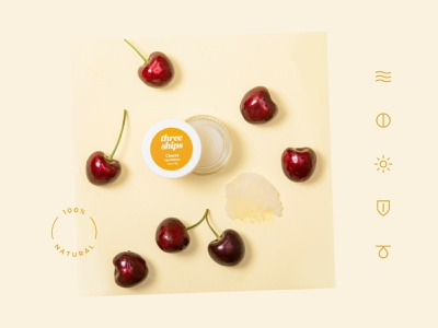 Three Ships – Brand Identity design cherry iconography icons beauty natural skincare care skin lip product package packaging logomark wordmark logotype logo identity branding brand