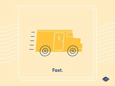 "MoneyClip – ""Edit"" Illustration speed car branding brand identity graphic lineart design vehicle truck bank icon illustration fast clip money fintech app"