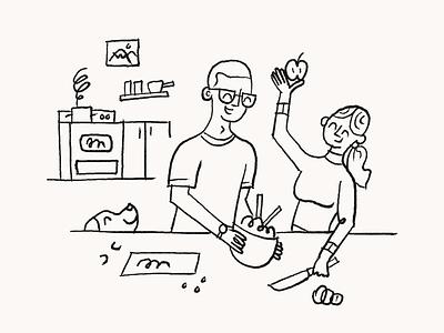 Lifestyle Illustration – Home line people dog food kitchen home app identity brand graphic illustration design sketch illustration