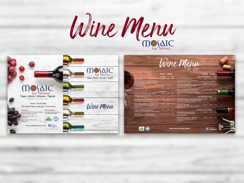 Wine Menu // Mosaic by Simo // Graphic Design design branding graphicdesign