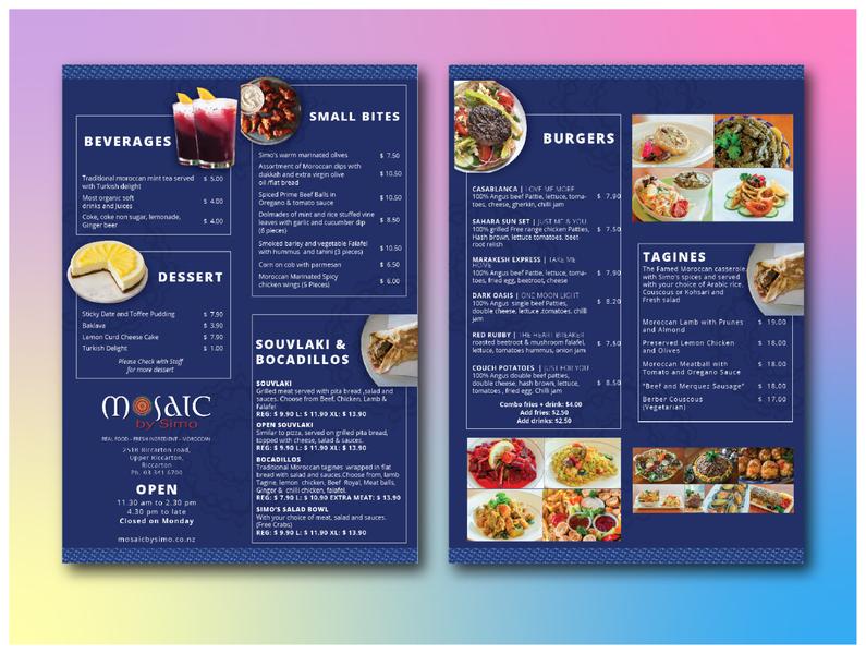 Restaurant Menu Design for Mosaic by Simo graphic design graphicdesign branding banner design design