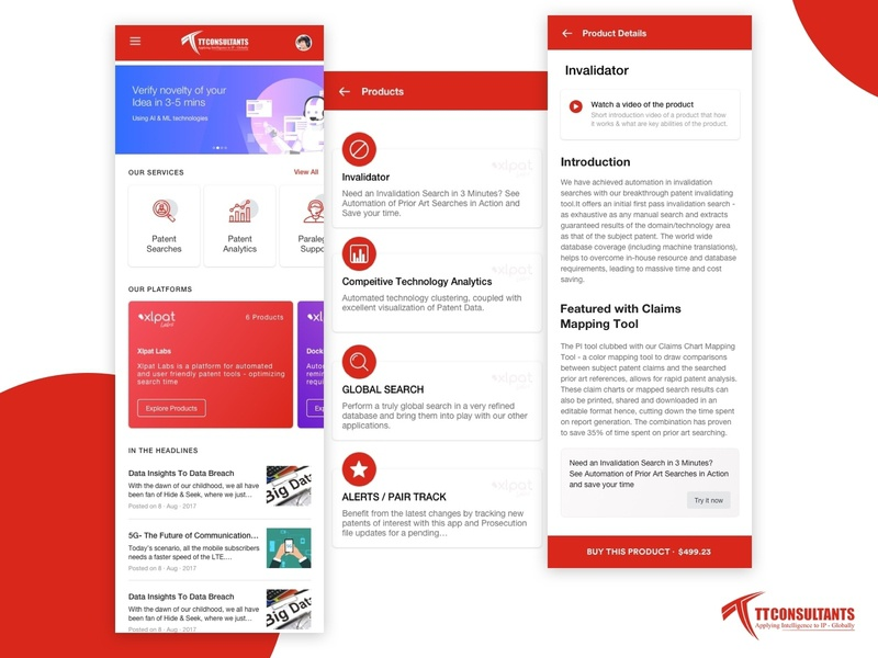Patent Search Concept ui metrial social minimalism line icon ui  ux app design search patent conceptual ui