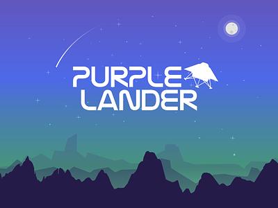 Purple lander landing stars planet space illustration purple game video