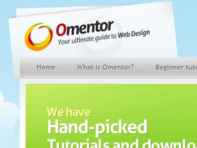 Omentor header logo navigation menu web