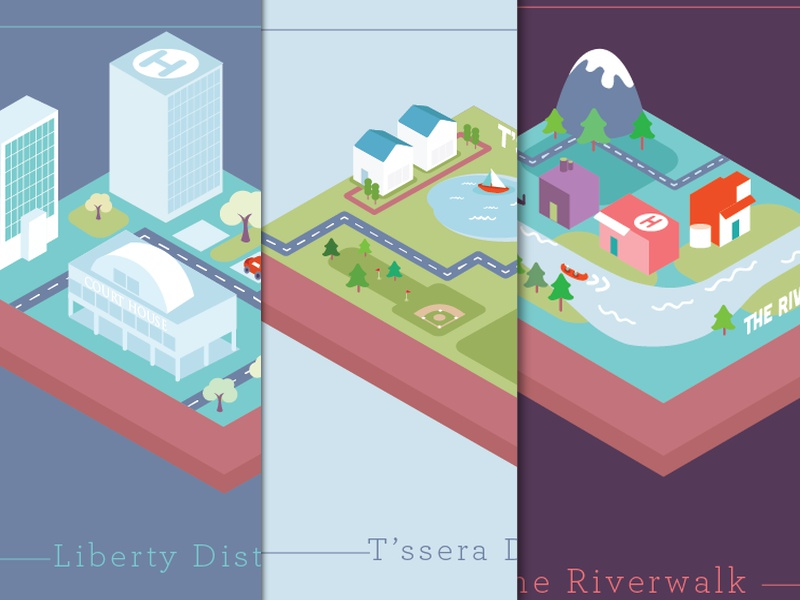 A collection of Districts web illustration design