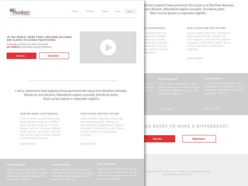 Awaken INC web design wireframe