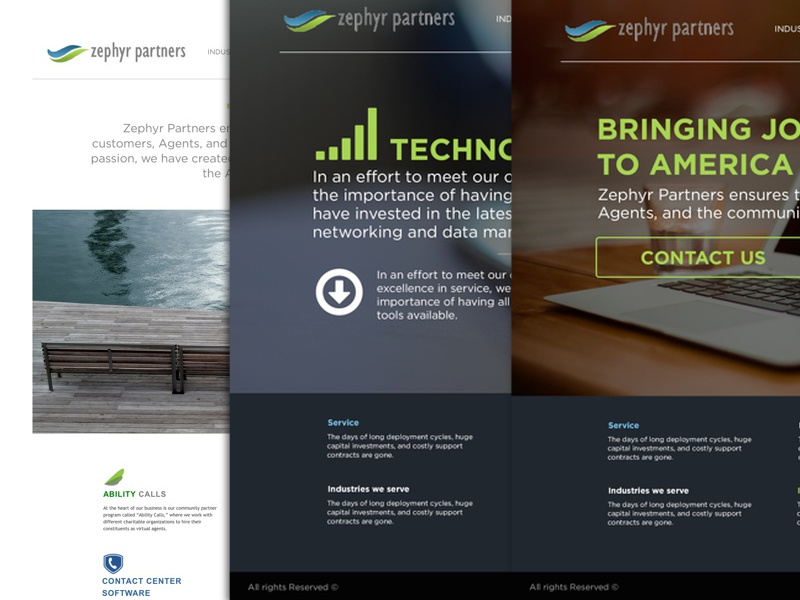 Zephyr partners ui design internet web