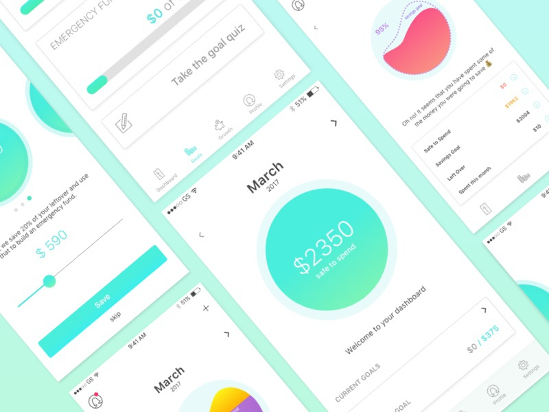 Prudential Prototype elegant simple gradient color application app money iphone ios mobile ux ui